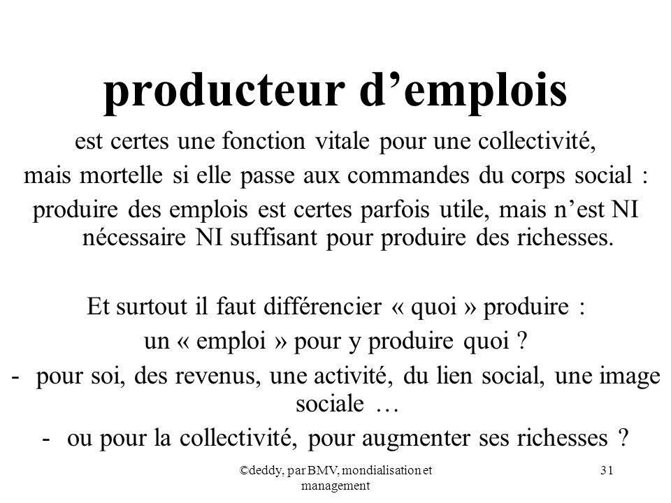 ©deddy, par BMV, mondialisation et management 31 producteur demplois est certes une fonction vitale pour une collectivité, mais mortelle si elle passe