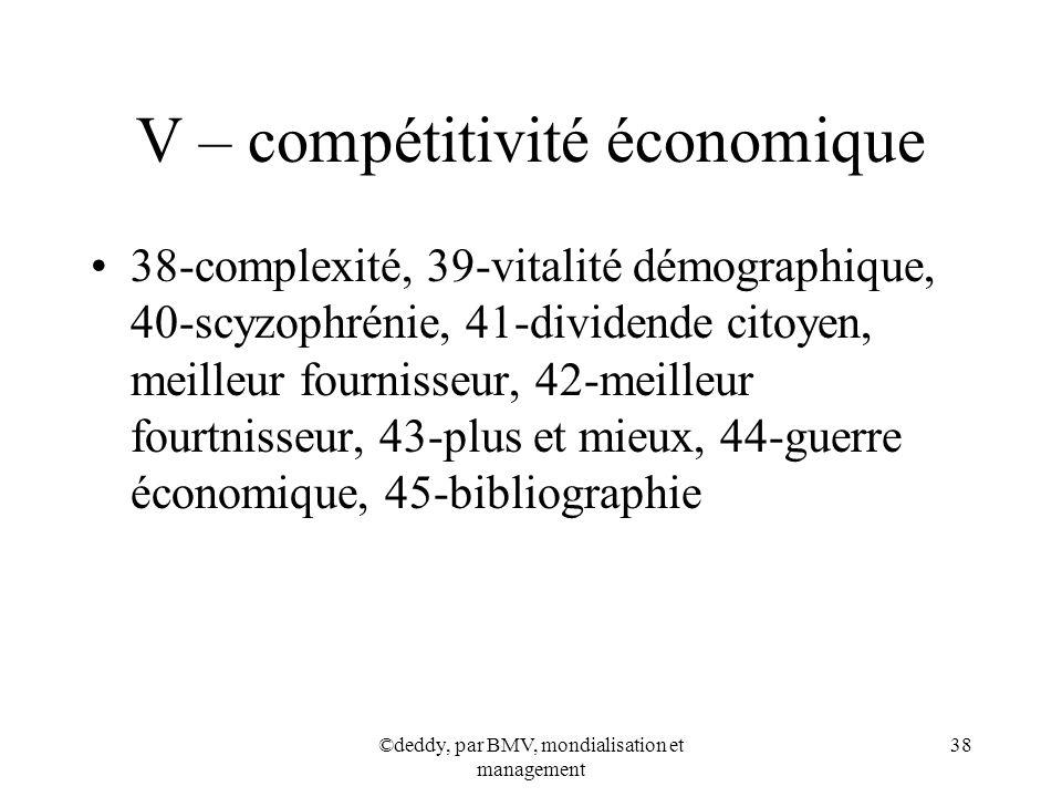 ©deddy, par BMV, mondialisation et management 38 V – compétitivité économique 38-complexité, 39-vitalité démographique, 40-scyzophrénie, 41-dividende