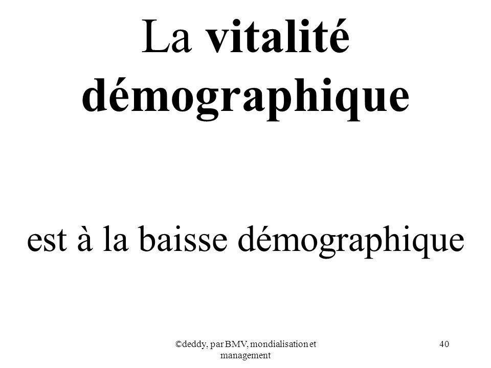 ©deddy, par BMV, mondialisation et management 40 La vitalité démographique est à la baisse démographique