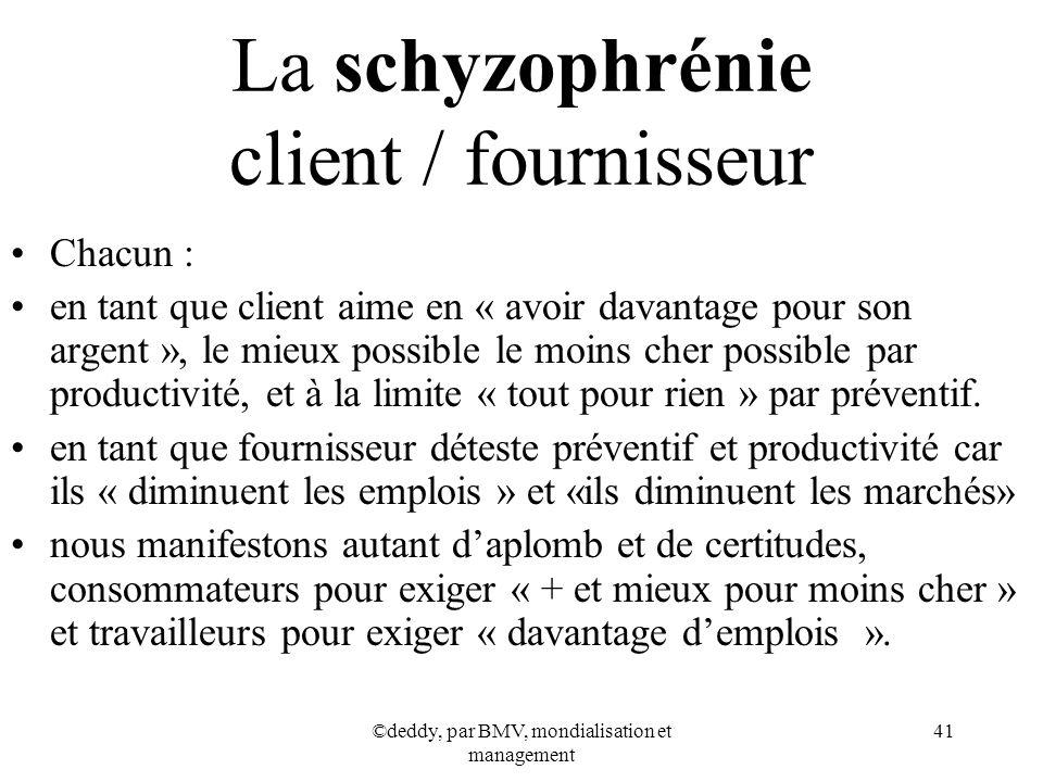 ©deddy, par BMV, mondialisation et management 41 La schyzophrénie client / fournisseur Chacun : en tant que client aime en « avoir davantage pour son