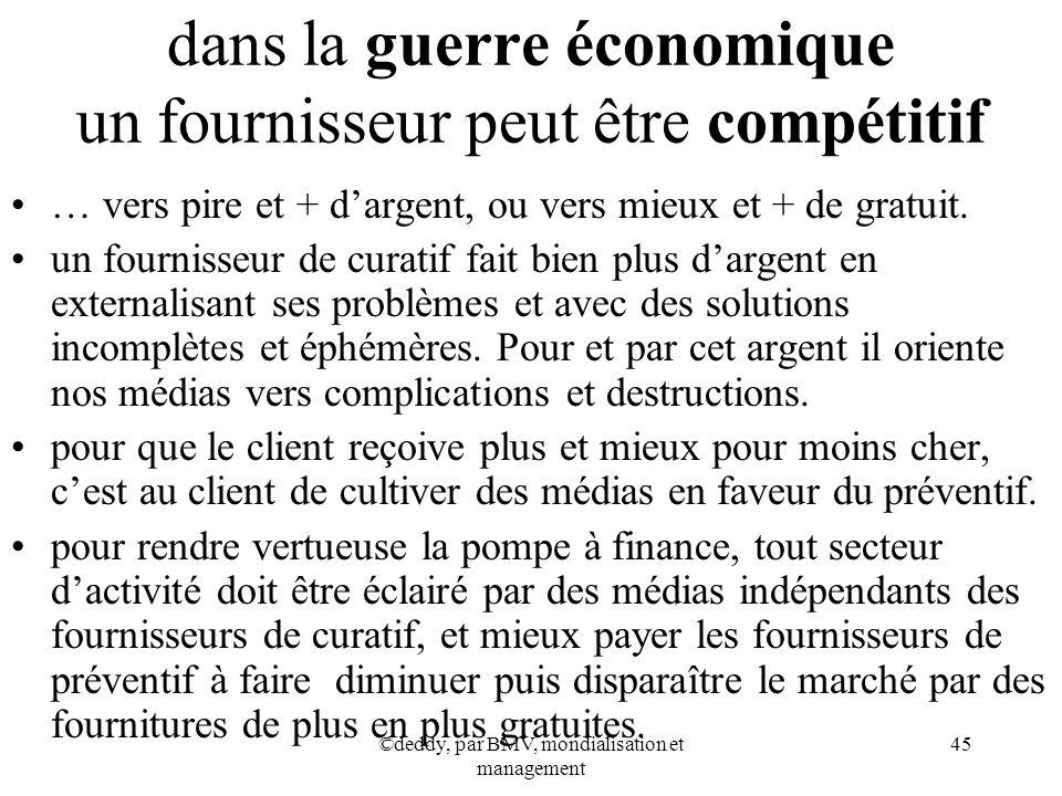 ©deddy, par BMV, mondialisation et management 45 dans la guerre économique un fournisseur peut être compétitif … vers pire et + dargent, ou vers mieux