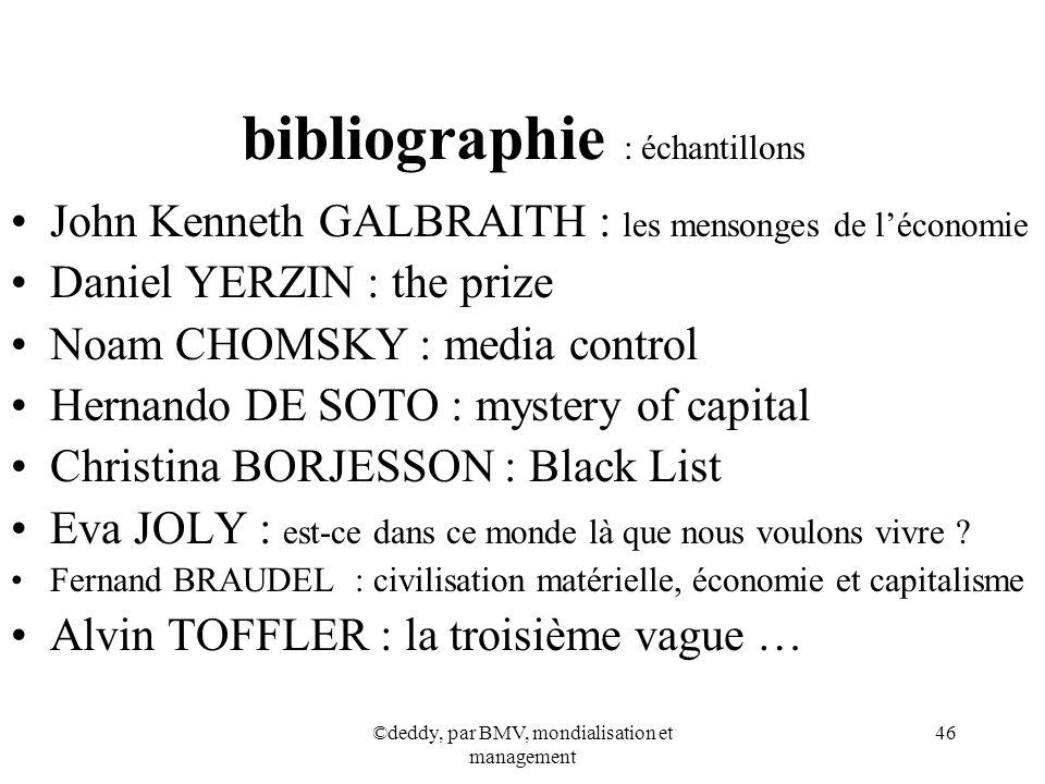 ©deddy, par BMV, mondialisation et management 46 bibliographie : échantillons John Kenneth GALBRAITH : les mensonges de léconomie Daniel YERZIN : the