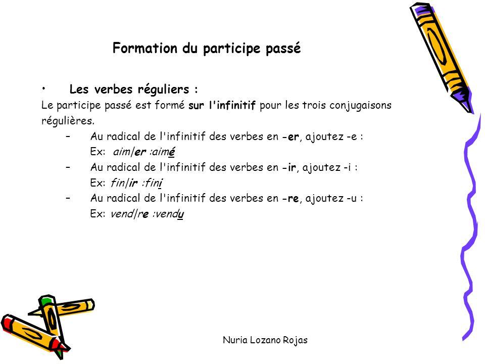 Nuria Lozano Rojas Formation du participe passé Les verbes réguliers : Le participe passé est formé sur l'infinitif pour les trois conjugaisons réguli