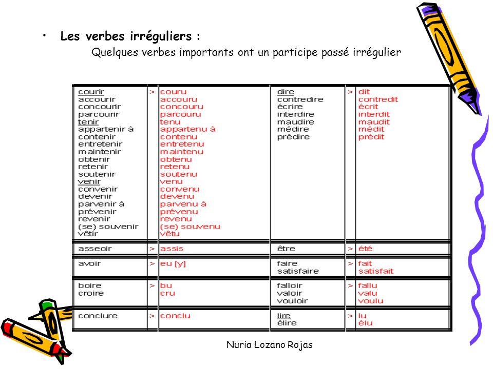 Nuria Lozano Rojas Les verbes irréguliers : Quelques verbes importants ont un participe passé irrégulier