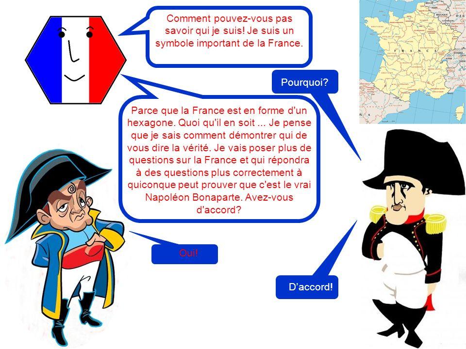 Pourquoi? Comment pouvez-vous pas savoir qui je suis! Je suis un symbole important de la France. Parce que la France est en forme d'un hexagone. Quoi