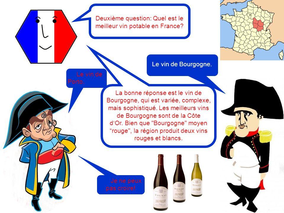 Deuxième question: Quel est le meilleur vin potable en France? Le vin de Porto. Je ne peux pas croire! La bonne réponse est le vin de Bourgogne, qui e