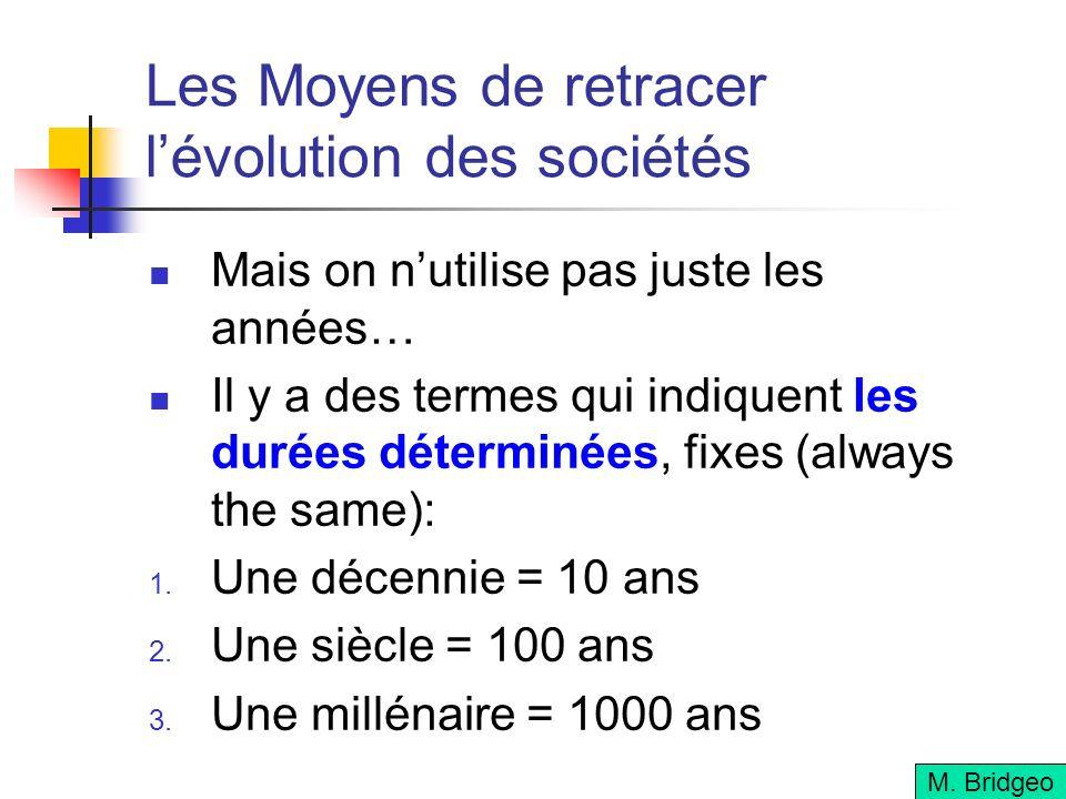 Les Moyens de retracer lévolution des sociétés Mais on nutilise pas juste les années… Il y a des termes qui indiquent les durées déterminées, fixes (a