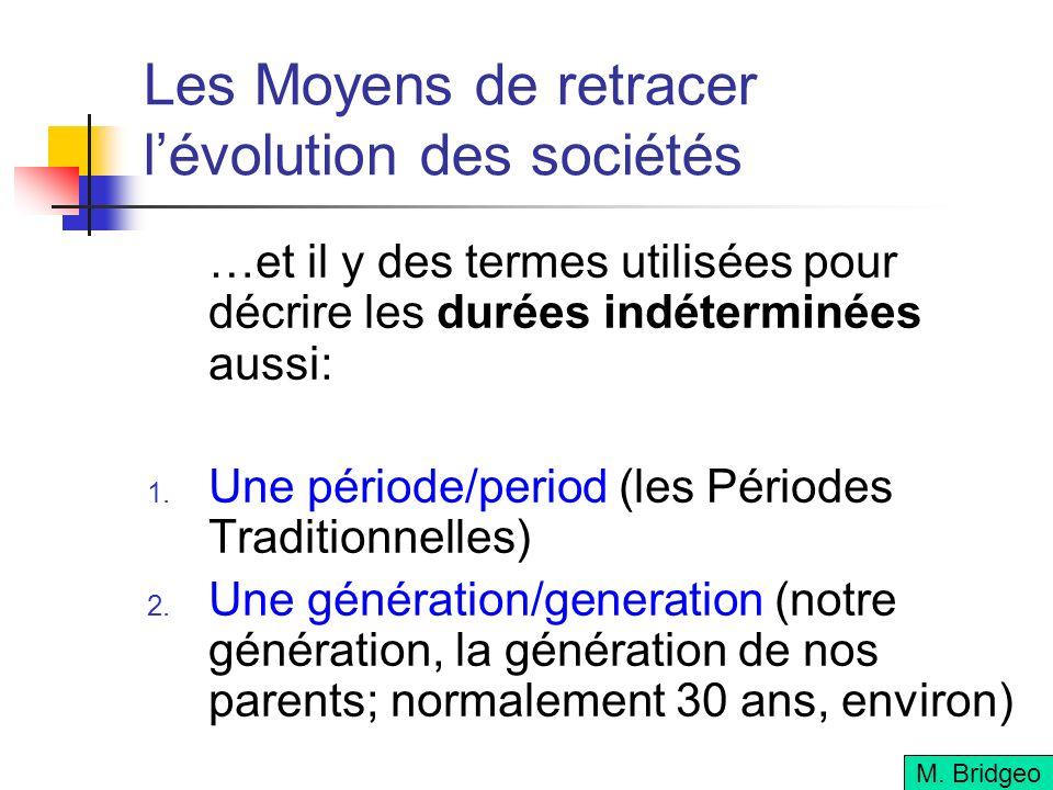 Les Moyens de retracer lévolution des sociétés …et il y des termes utilisées pour décrire les durées indéterminées aussi: Une période/period (les Péri