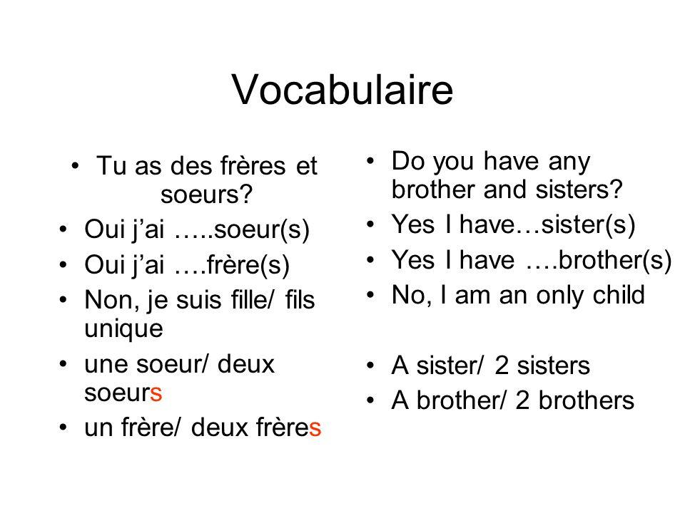 Vocabulaire Tu as des frères et soeurs? Oui jai …..soeur(s) Oui jai ….frère(s) Non, je suis fille/ fils unique une soeur/ deux soeurs un frère/ deux f