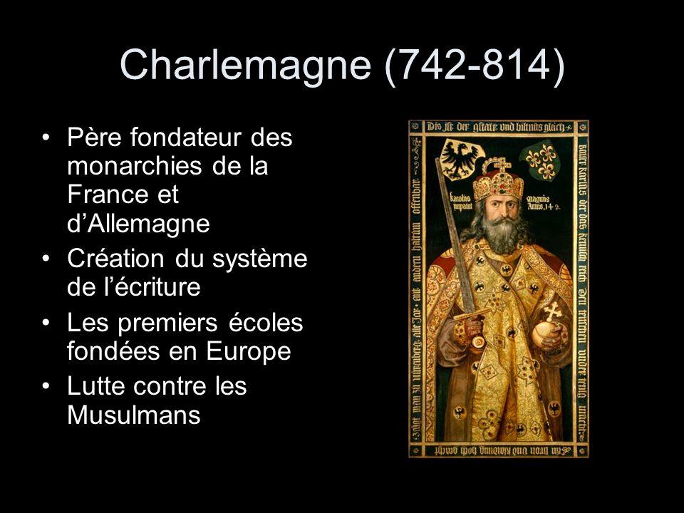 Charlemagne (742-814) Père fondateur des monarchies de la France et dAllemagne Création du système de lécriture Les premiers écoles fondées en Europe Lutte contre les Musulmans