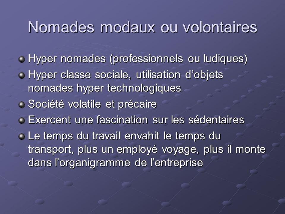 Nomades modaux ou volontaires Hyper nomades (professionnels ou ludiques) Hyper classe sociale, utilisation dobjets nomades hyper technologiques Sociét