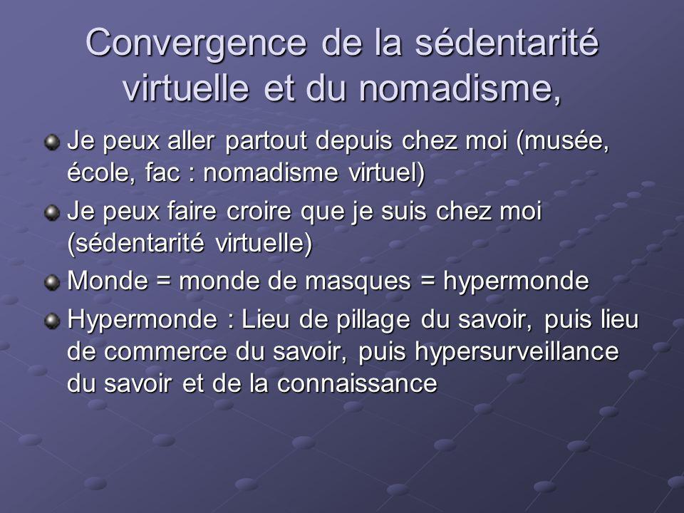 Convergence de la sédentarité virtuelle et du nomadisme, Je peux aller partout depuis chez moi (musée, école, fac : nomadisme virtuel) Je peux faire c