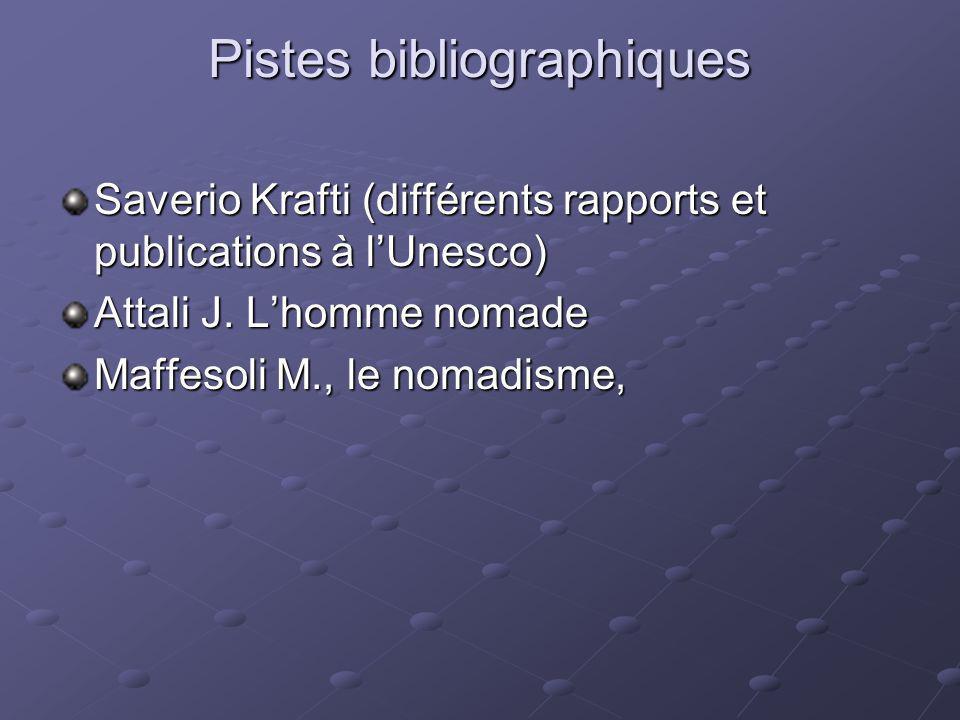 Pistes bibliographiques Saverio Krafti (différents rapports et publications à lUnesco) Attali J. Lhomme nomade Maffesoli M., le nomadisme,