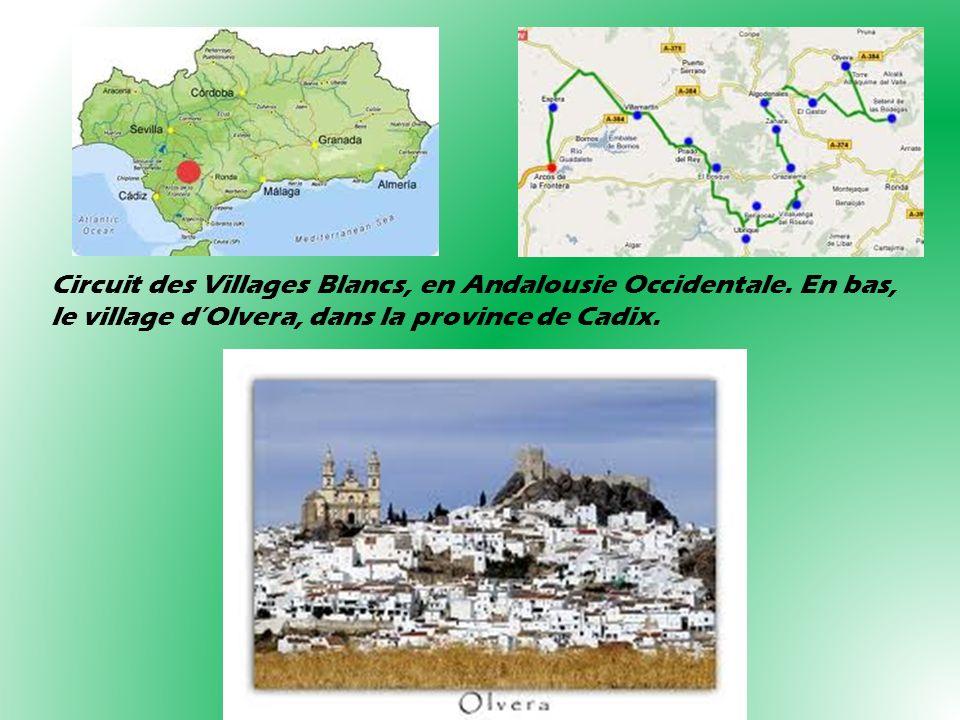 Circuit des Villages Blancs, en Andalousie Occidentale. En bas, le village dOlvera, dans la province de Cadix.