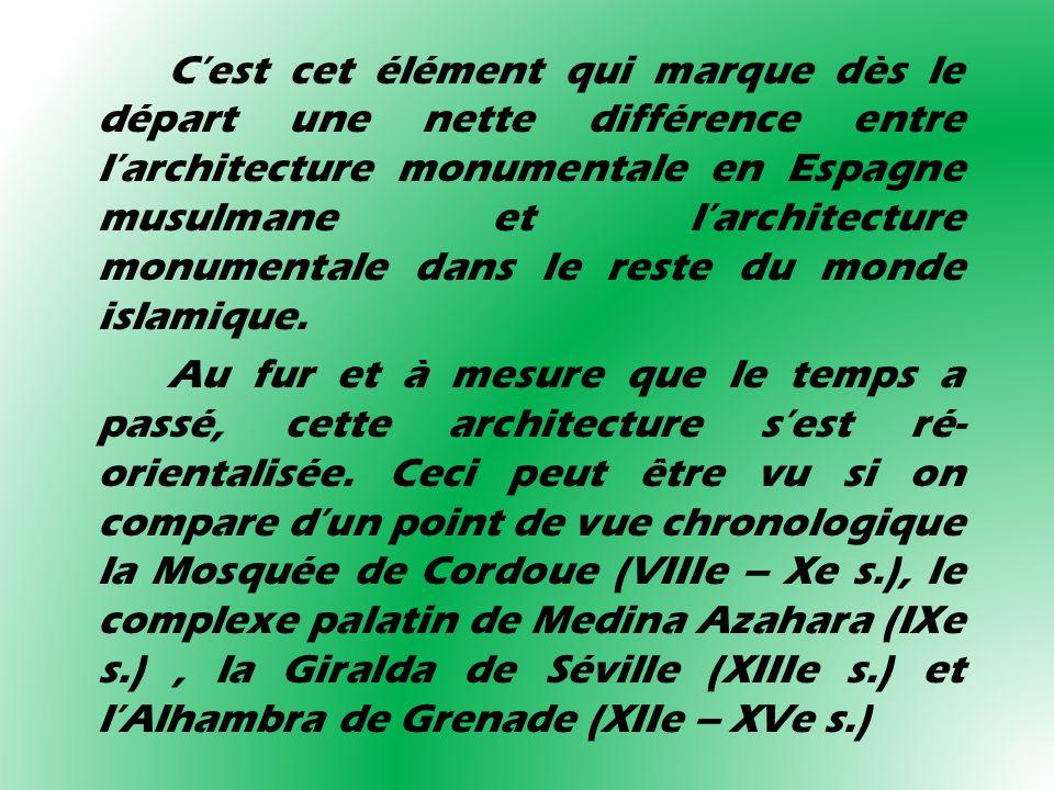 Cest cet élément qui marque dès le départ une nette différence entre larchitecture monumentale en Espagne musulmane et larchitecture monumentale dans
