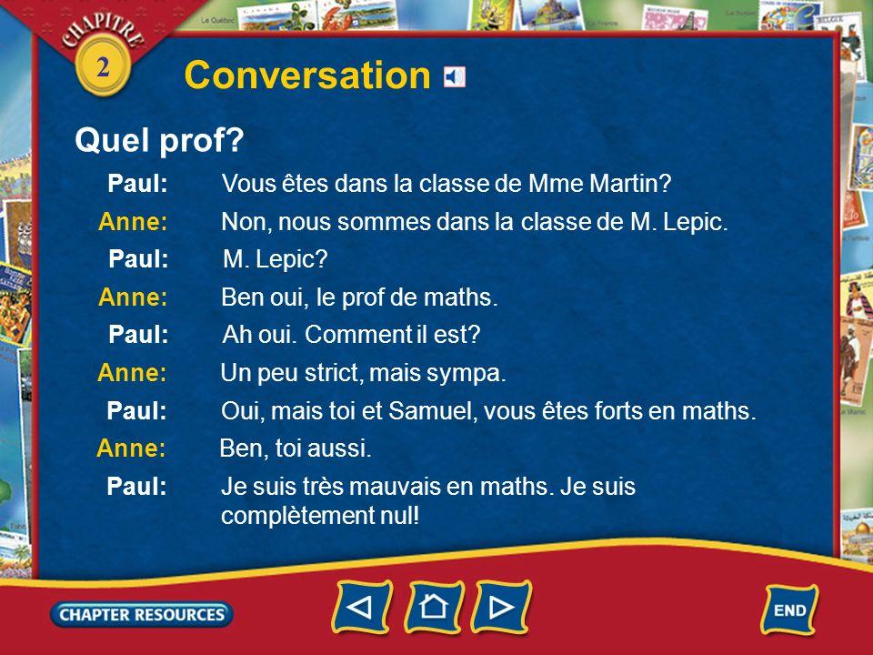 2 Conversation Quel prof?
