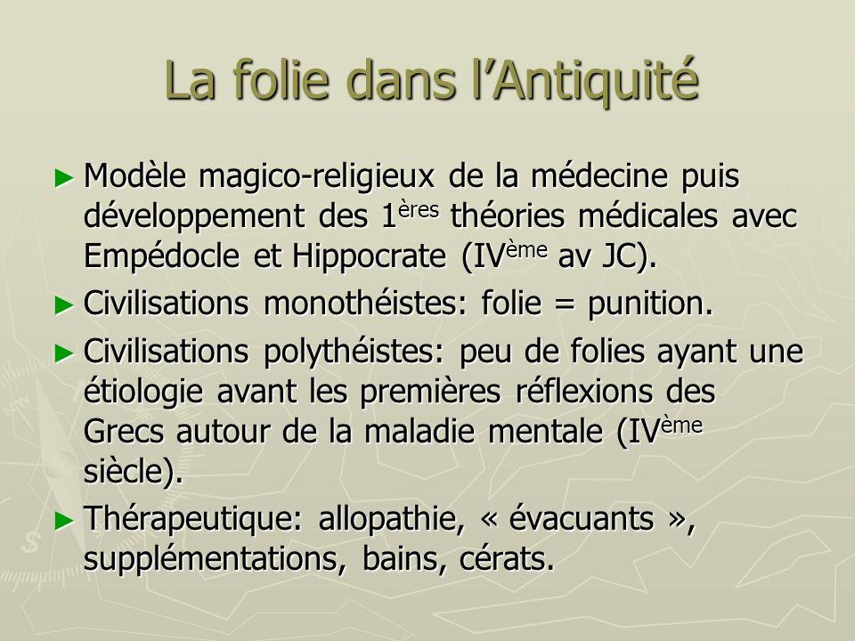 La folie dans lAntiquité Modèle magico-religieux de la médecine puis développement des 1 ères théories médicales avec Empédocle et Hippocrate (IV ème