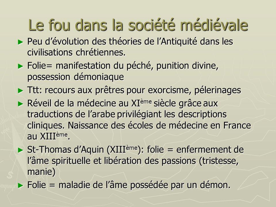 Le fou dans la société médiévale Peu dévolution des théories de lAntiquité dans les civilisations chrétiennes. Peu dévolution des théories de lAntiqui