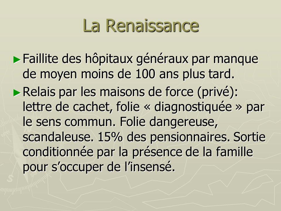 La Renaissance Faillite des hôpitaux généraux par manque de moyen moins de 100 ans plus tard. Faillite des hôpitaux généraux par manque de moyen moins