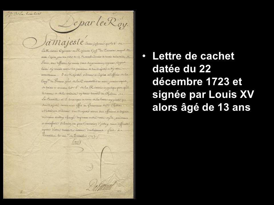 Lettre de cachet datée du 22 décembre 1723 et signée par Louis XV alors âgé de 13 ans