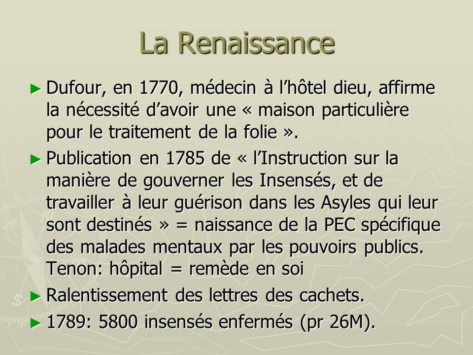 La Renaissance Dufour, en 1770, médecin à lhôtel dieu, affirme la nécessité davoir une « maison particulière pour le traitement de la folie ». Dufour,