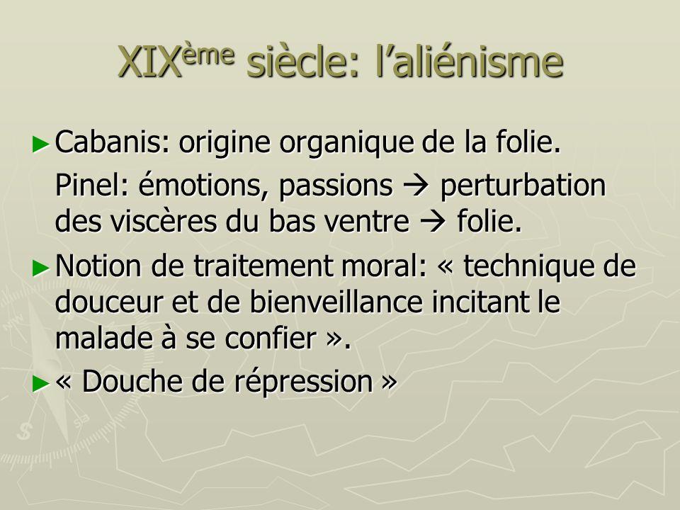 XIX ème siècle: laliénisme Cabanis: origine organique de la folie. Cabanis: origine organique de la folie. Pinel: émotions, passions perturbation des