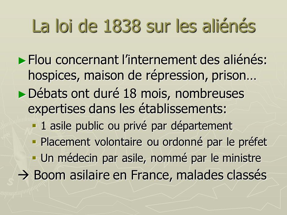 La loi de 1838 sur les aliénés Flou concernant linternement des aliénés: hospices, maison de répression, prison… Flou concernant linternement des alié