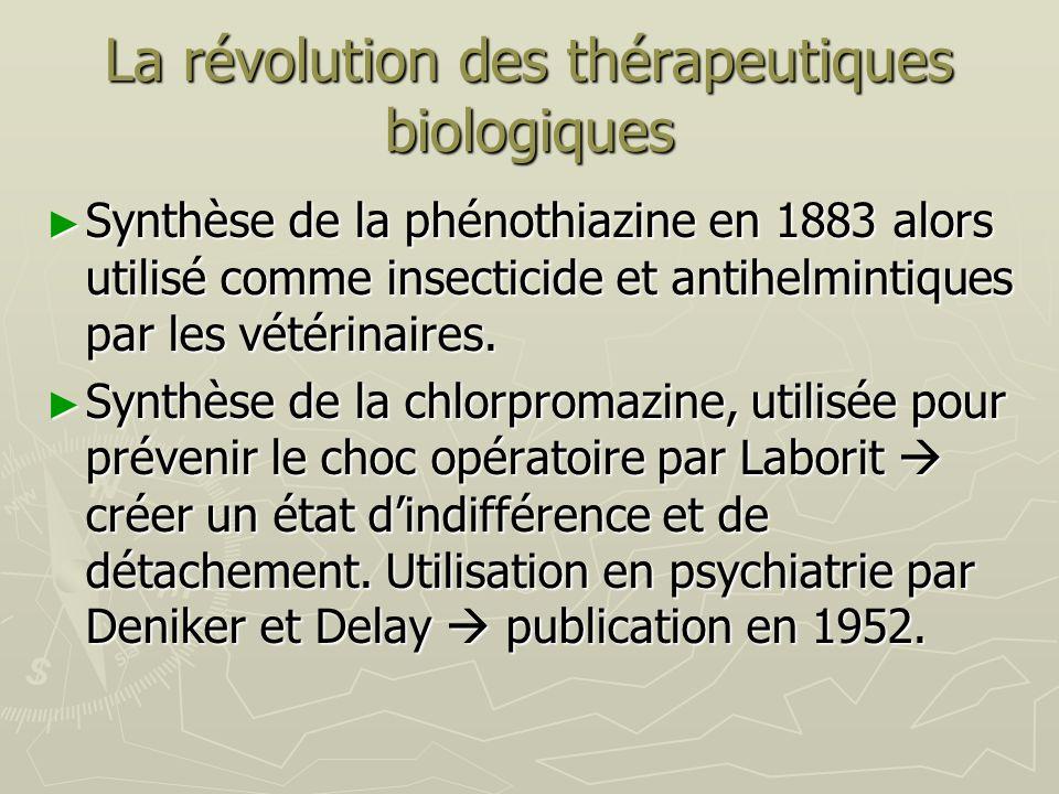 La révolution des thérapeutiques biologiques Synthèse de la phénothiazine en 1883 alors utilisé comme insecticide et antihelmintiques par les vétérina