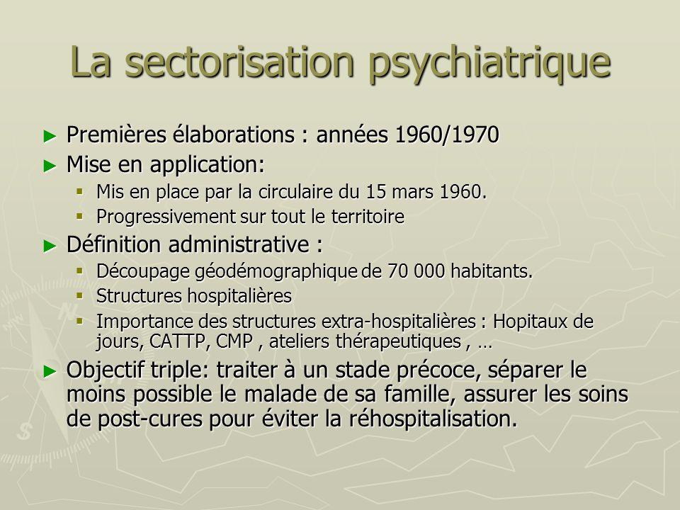 La sectorisation psychiatrique Premières élaborations : années 1960/1970 Premières élaborations : années 1960/1970 Mise en application: Mise en applic