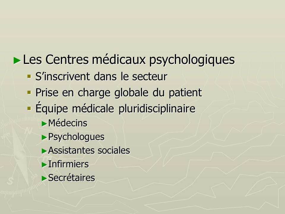 Les Centres médicaux psychologiques Les Centres médicaux psychologiques Sinscrivent dans le secteur Sinscrivent dans le secteur Prise en charge global