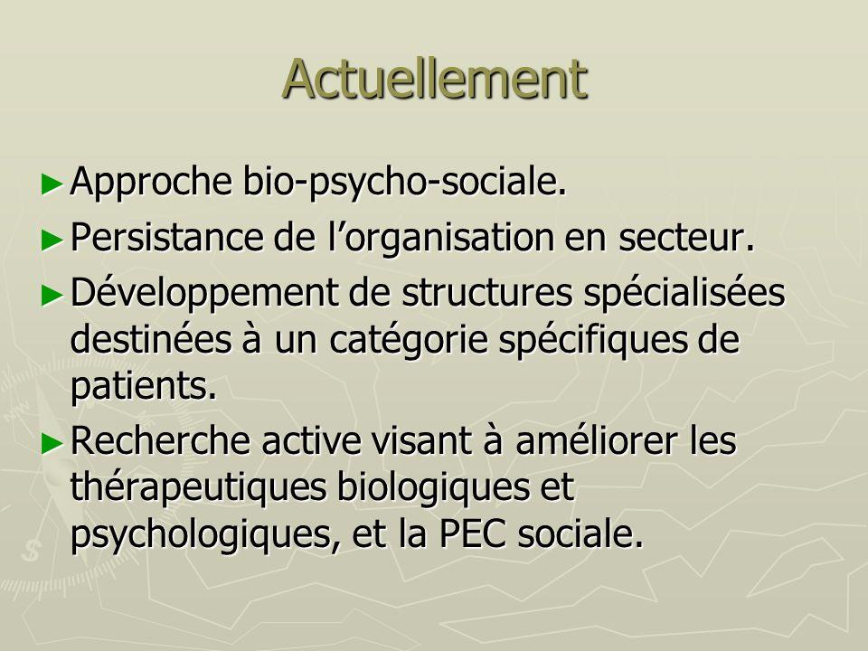 Actuellement Approche bio-psycho-sociale. Approche bio-psycho-sociale. Persistance de lorganisation en secteur. Persistance de lorganisation en secteu