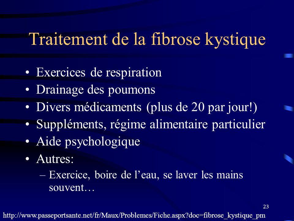 23 Traitement de la fibrose kystique Exercices de respiration Drainage des poumons Divers médicaments (plus de 20 par jour!) Suppléments, régime alime