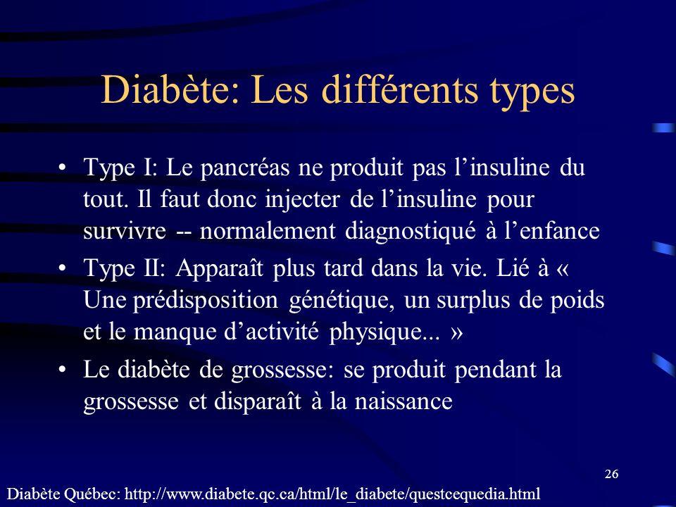 26 Diabète: Les différents types Type I: Le pancréas ne produit pas linsuline du tout. Il faut donc injecter de linsuline pour survivre -- normalement