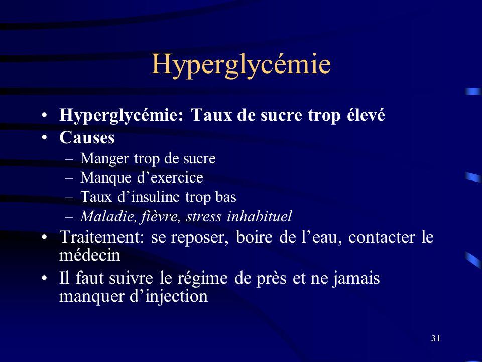 31 Hyperglycémie Hyperglycémie: Taux de sucre trop élevé Causes –Manger trop de sucre –Manque dexercice –Taux dinsuline trop bas –Maladie, fièvre, str