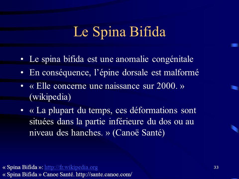 33 Le Spina Bifida Le spina bifida est une anomalie congénitale En conséquence, lépine dorsale est malformé « Elle concerne une naissance sur 2000. »