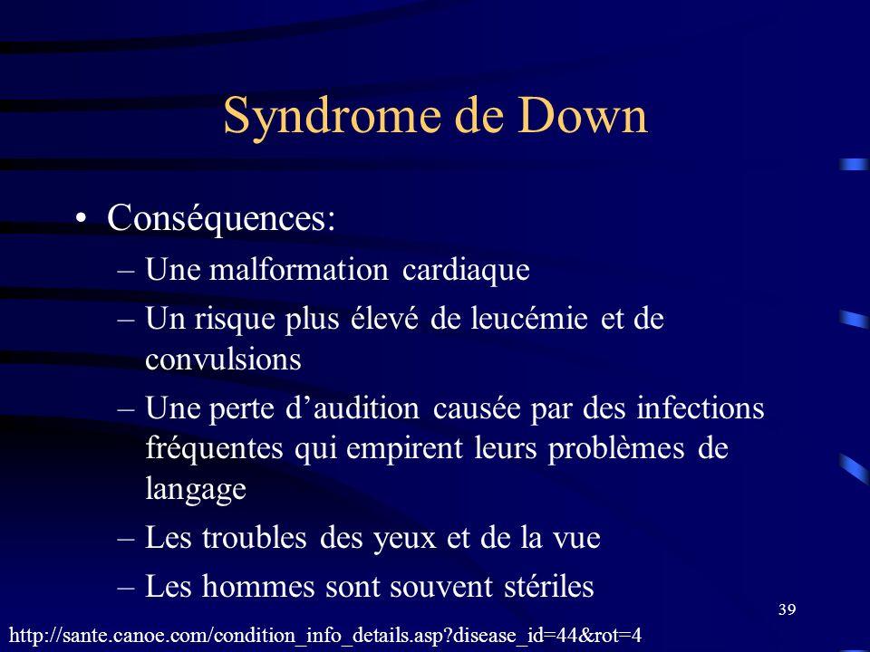 39 Syndrome de Down Conséquences: –Une malformation cardiaque –Un risque plus élevé de leucémie et de convulsions –Une perte daudition causée par des