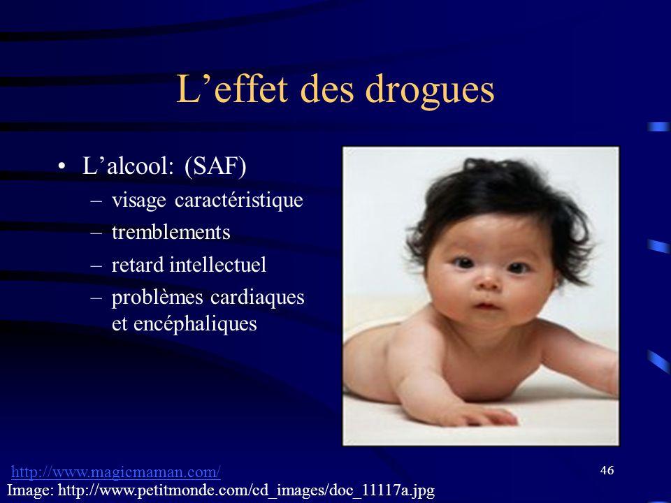 46 Leffet des drogues Lalcool: (SAF) –visage caractéristique –tremblements –retard intellectuel –problèmes cardiaques et encéphaliques http://www.magi