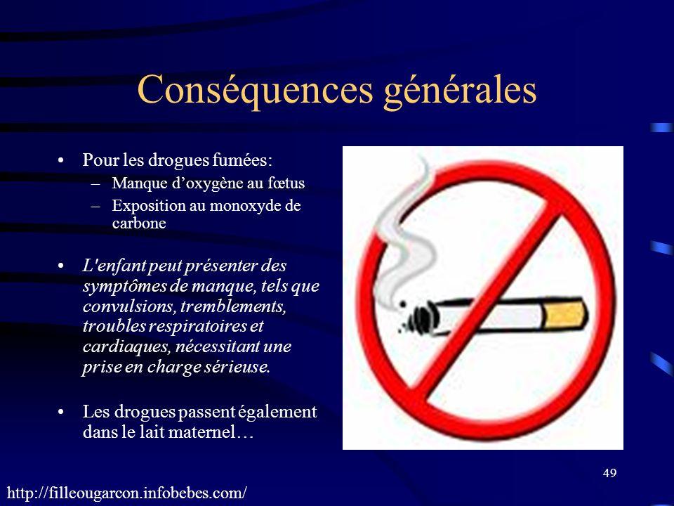 49 Conséquences générales Pour les drogues fumées: –Manque doxygène au fœtus –Exposition au monoxyde de carbone L'enfant peut présenter des symptômes