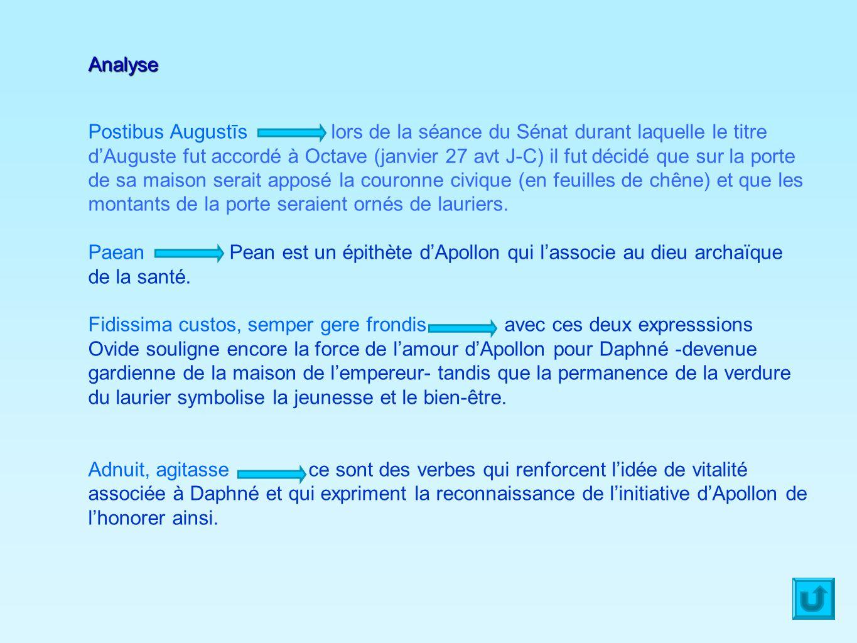Analyse Postibus Augustīs lors de la séance du Sénat durant laquelle le titre dAuguste fut accordé à Octave (janvier 27 avt J-C) il fut décidé que sur