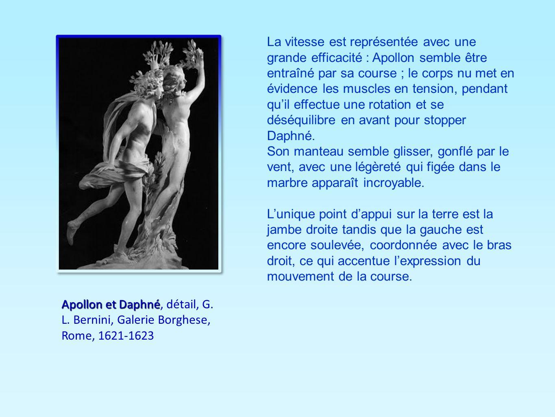 La vitesse est représentée avec une grande efficacité : Apollon semble être entraîné par sa course ; le corps nu met en évidence les muscles en tensio