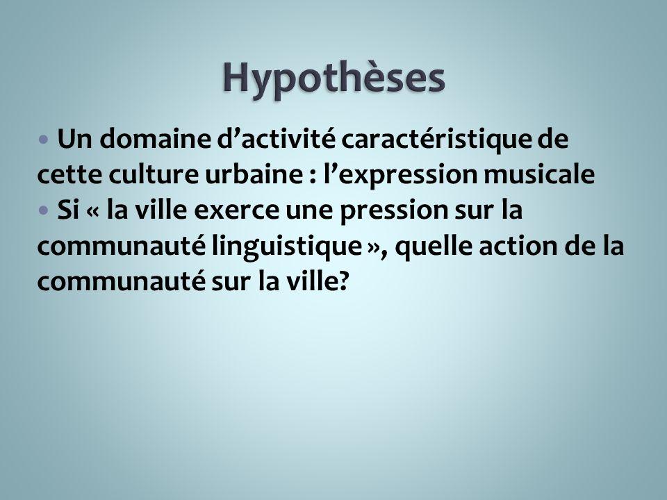 Un domaine dactivité caractéristique de cette culture urbaine : lexpression musicale Si « la ville exerce une pression sur la communauté linguistique », quelle action de la communauté sur la ville?