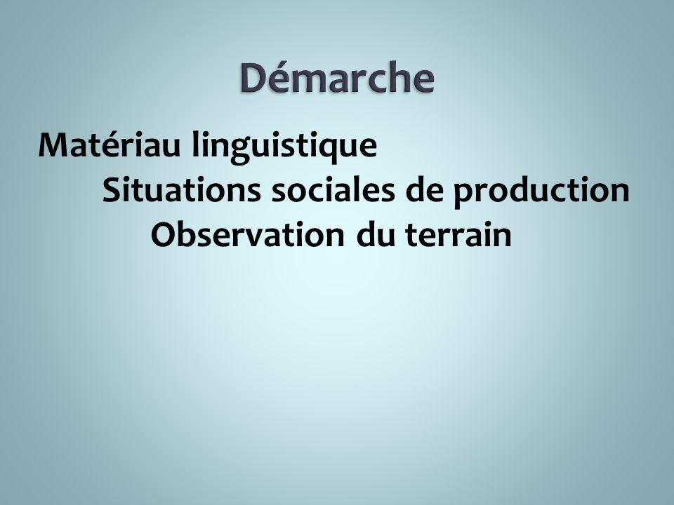 Matériau linguistique Situations sociales de production Observation du terrain