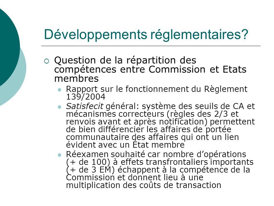 Développements réglementaires? Question de la répartition des compétences entre Commission et Etats membres Rapport sur le fonctionnement du Règlement