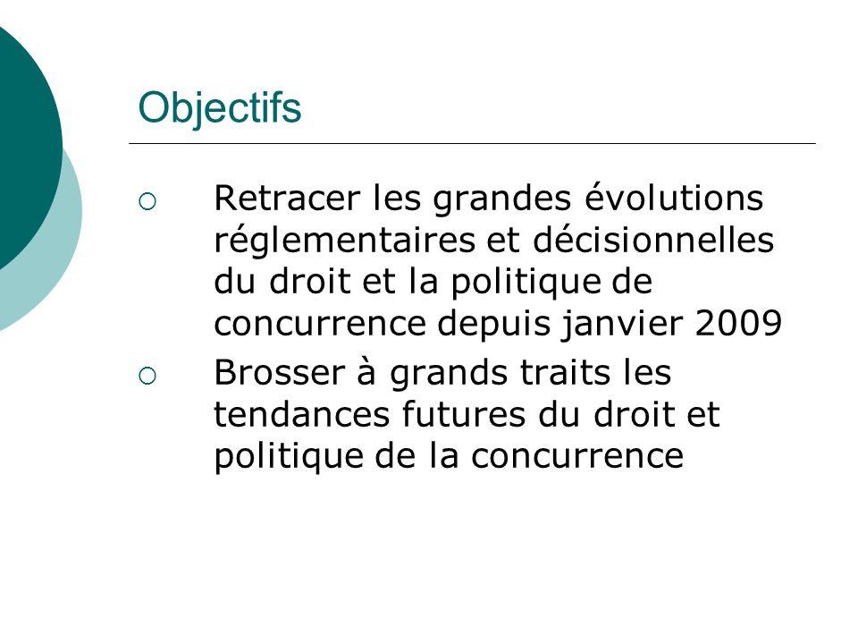 Objectifs Retracer les grandes évolutions réglementaires et décisionnelles du droit et la politique de concurrence depuis janvier 2009 Brosser à grand