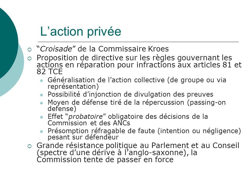 Laction privée Croisade de la Commissaire Kroes Proposition de directive sur les règles gouvernant les actions en réparation pour infractions aux arti