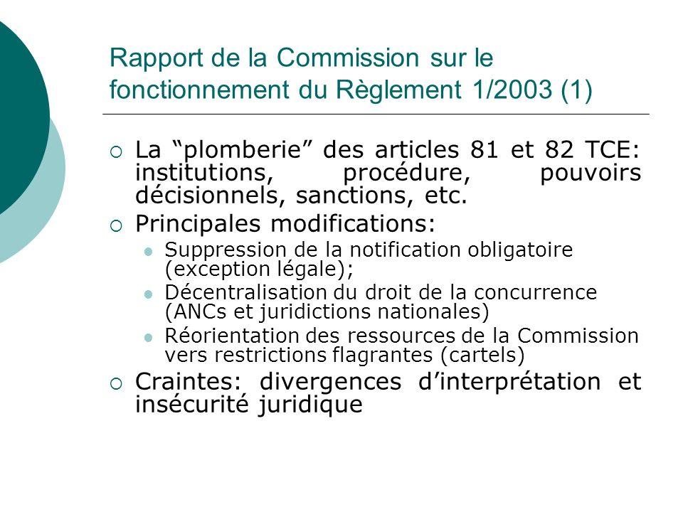 Rapport de la Commission sur le fonctionnement du Règlement 1/2003 (1) La plomberie des articles 81 et 82 TCE: institutions, procédure, pouvoirs décis