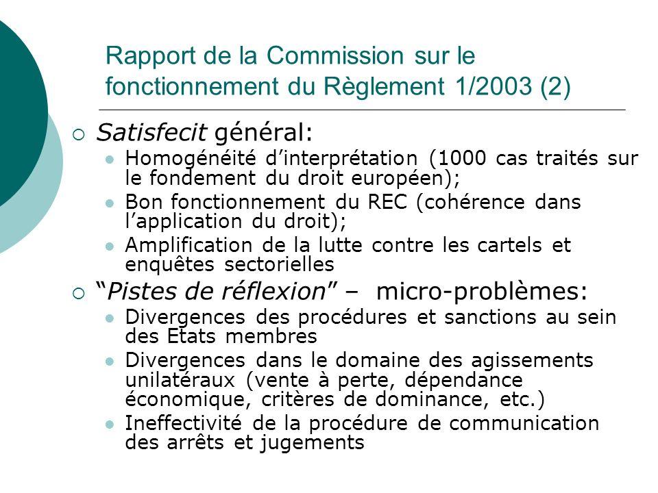 Rapport de la Commission sur le fonctionnement du Règlement 1/2003 (2) Satisfecit général: Homogénéité dinterprétation (1000 cas traités sur le fondem