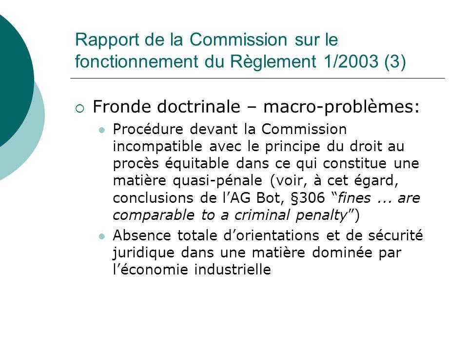 Rapport de la Commission sur le fonctionnement du Règlement 1/2003 (3) Fronde doctrinale – macro-problèmes: Procédure devant la Commission incompatibl