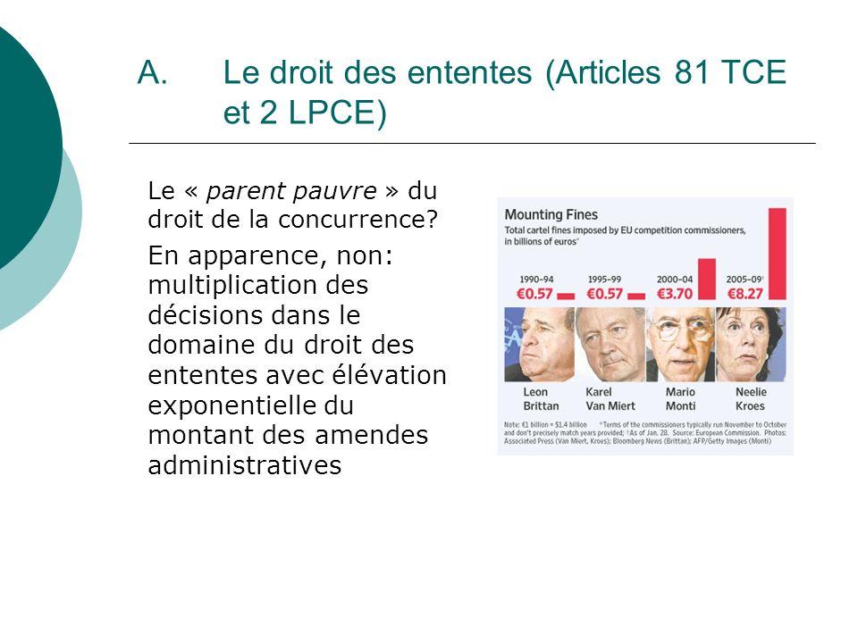 A. Le droit des ententes (Articles 81 TCE et 2 LPCE) Le « parent pauvre » du droit de la concurrence? En apparence, non: multiplication des décisions