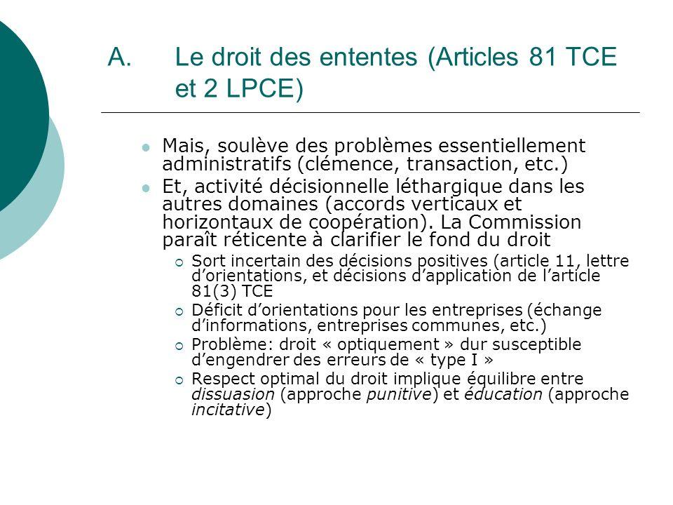 A. Le droit des ententes (Articles 81 TCE et 2 LPCE) Mais, soulève des problèmes essentiellement administratifs (clémence, transaction, etc.) Et, acti